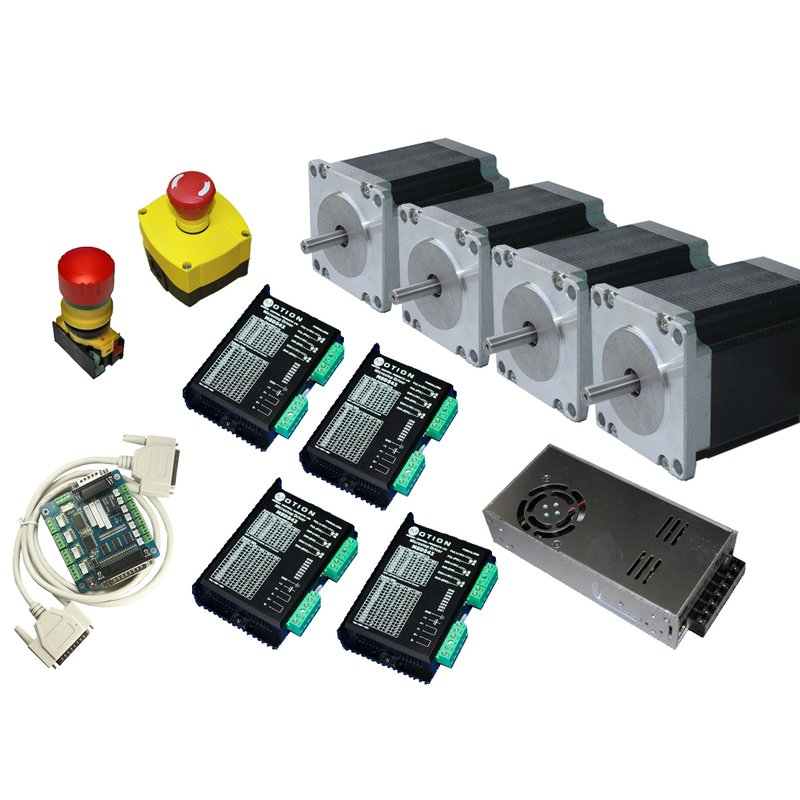Complete CNC Stepper Motor Driver Controller for 4 Axis + 4 Motors 3Nm